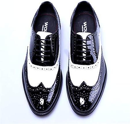 Zapatos para Hombre Cuero En Punta La Vendimia Cordón Zapato Empalme Smoking Ocasional Cómodo Y Antideslizante Botas Cordones La Bota Plana Acento Formal La Oficina,Negro,42