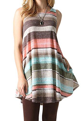 Poulax Women Loose-fit Sleeveless Lightweight T-shirt Tunic Tank Top