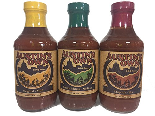 Austin's Own BBQ Sauce Variety Pack - Mild, Medium, and Hot 18 ounces each