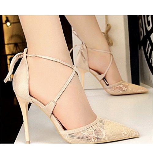 Lace Wies Absätzen LIANGXIE Mund Strap Amerikanischen Cross Sandalen Beige Hohen mit Stil Schuhe mit Flachen Sexy Hohlen Xiaoqi Hochhackigen Europäischen und Net rfq7fwW8ZO