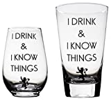 Momstir I Drink and I Know Things Game of Thrones-Inspired Beer Glass & Wine Glass Combo The Golden Lion Great for Drinking Games Wine & Beer Gifts - Him and Her