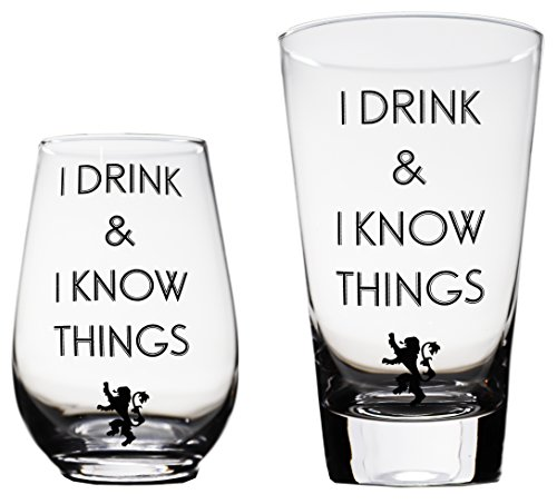 Momstir I Drink and I Know Things Beer Glass & Wine Glass Game of Thrones-Inspired Combo The Golden Lion Great for Drinking Games Wine & Beer Gifts - Him and Her