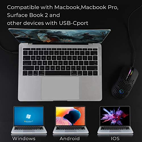 Wired USB C Gaming Mice,Lightweight Honeycomb Shell,7 Programmable Buttons,7200DPI,5 RGB Backlit for Apple MacGuide Pro 2017/2016,MacGuide,Chromebook,Windows PC,Computer or Laptops with Type C Port