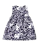 Lofbaz Girls Printed Rayon Sleeveless Tea Dresses - Elephant 4 Purple - 3-4Y