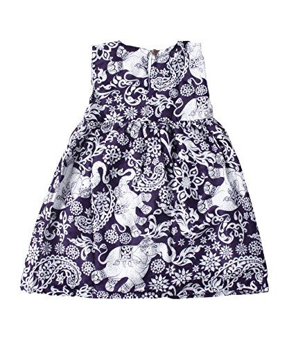 Lofbaz Girls Printed Rayon Sleeveless Tea Dresses - Elephant 4 Purple - 3-4Y by Lofbaz