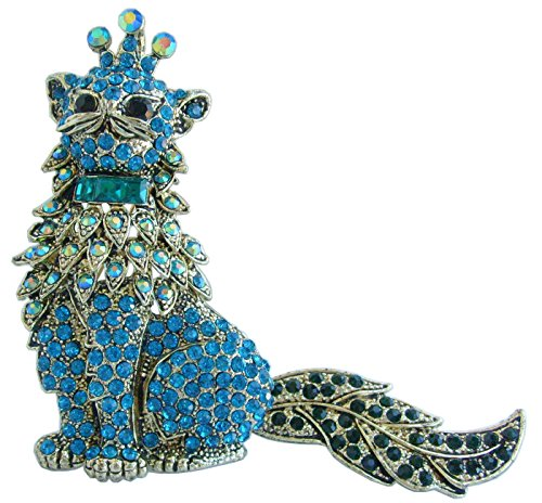 Cat Kitty Brooch Pin Pendant Rhinestone Crystal BZ5953 (Gold-Tone Turquoise) ()