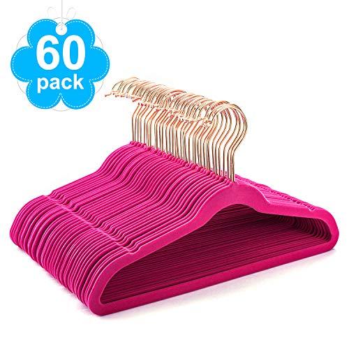 HOUSE DAY Kids Velvet Hangers 60 Pack 14 Wide Space Saving Velvet Non Slip Hangers for Childrens,Premium Velvet Childrens Hangers for Clothes,Hot Pink