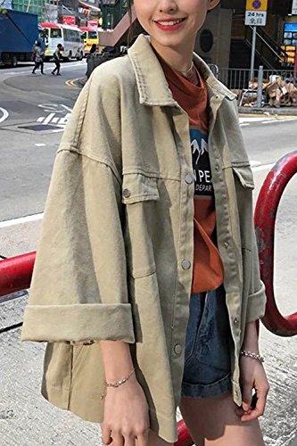 Vepodrau Apricot Allentato Le Bottone Giacche Tasche Ampia Outwear Manica rTw7zr84Bq