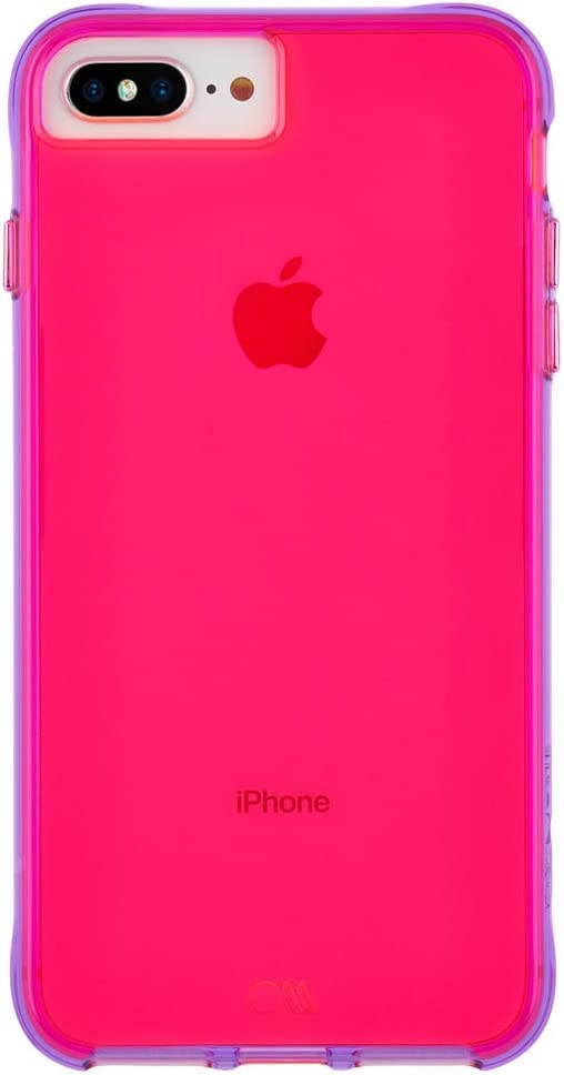 Case-Mate - iPhone 8 Plus Neon Case - Tough NEON - Glowing Neon Edge - Protective Design - Pink/Purple Neon