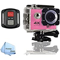 FrenzyDeals Pink Ultra HD Wifi Waterproof Sports Camera with Wrist RF remote + FrenzyDeals Microfiber Cloth