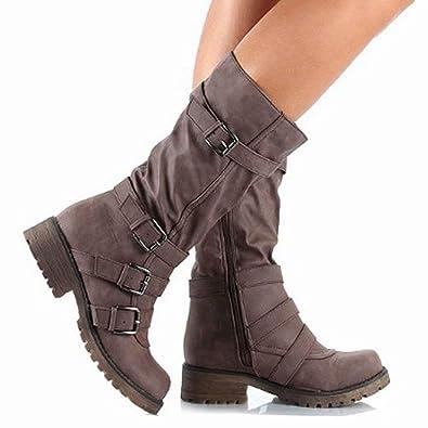 a65d3491753 Amazon.com | Elsa Wilcox Womens High Tube Flat Riding Winter Boots ...