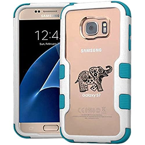 Galaxy S7 Case Tribal Elephant, Extra Shock-Absorb Clear back panel + Engineered TPU bumper 3 layer protection Sales