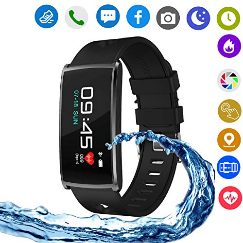Hangang Smart Watches,Touch Screen Smart Watch Smart Wrist Watch Compatible with Android Phones IOS for Kids Men Women with Sleep Detection. (black) by Hangang