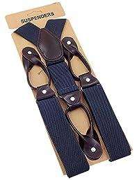 Panegy Suspenders for Men Heavy Duty Adjustable Elastic Y-Shape Button Sling- Gray
