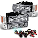 97 chevy hid headlight kit - Chevy C/K 1500/2500/3500 Tahoe Suburban Silverado C10 Headlights+8000K Blue White HID Xenon Kit