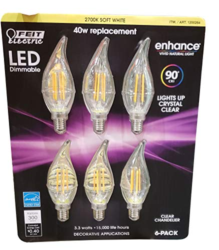 Feit Electric Led Chandelier Bulbs 40W 6 Pack Soft White, 6Count
