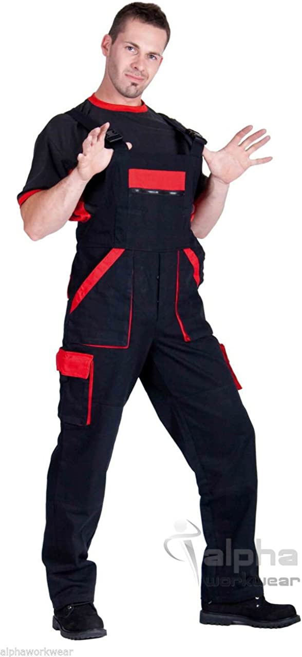 Reflective Elements Grey//Red//Black Techno Mens Work Bib and Brace Dungarees Overalls