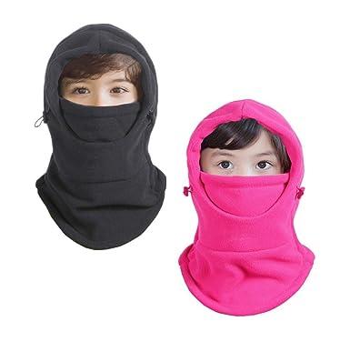 04d4dd8e9 Amazon.com  Children Balaclava Fleece Hood Boys Ninja Hat Girls ...