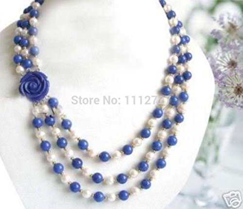 Prime Leader Wonderful 7-8Mm White Akoya Shell Pearl &Amp; Lapis Lazuli Beads Jewelry Necklace Flower Clasp Natural Stone Bv362 - Lapis Clasp