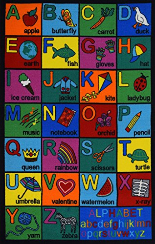 Play Time Kids Reversible Area Rug Alphabet ABC Learning Carpet Game Room Design #01 (7 Feet 9 Inch X10 Feet)