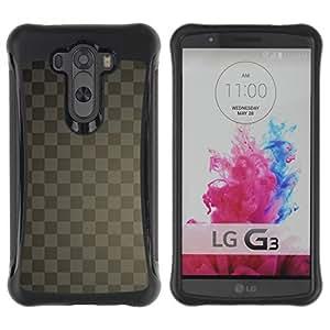 LASTONE PHONE CASE / Suave Silicona Caso Carcasa de Caucho Funda para LG G3 / Texture Checkered Gray