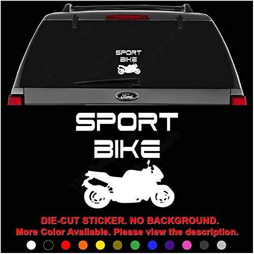 (Racing Sport Bike Motorcycle Die Cut Vinyl Decal Sticker for Car Truck Motorcycle Vehicle Window Bumper Wall Decor Laptop Helmet Size- [8 inch] / [20 cm] Wide || Color- Gloss Black)