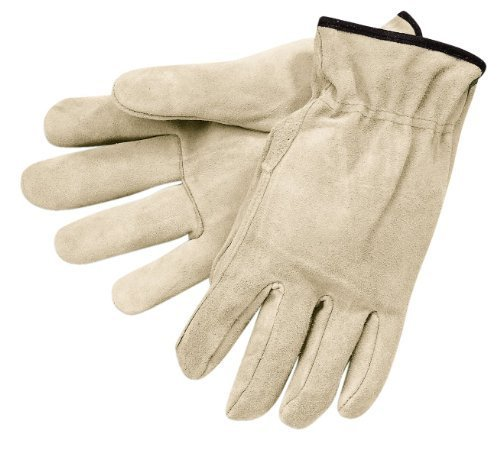 MCR Safety 3120XL Regular Grade Cow Split Leather Driver Unlined Men's Gloves with Straight Thumb, Natural Pearl Gray, X-Large, 1-Pair by MCR Safety -
