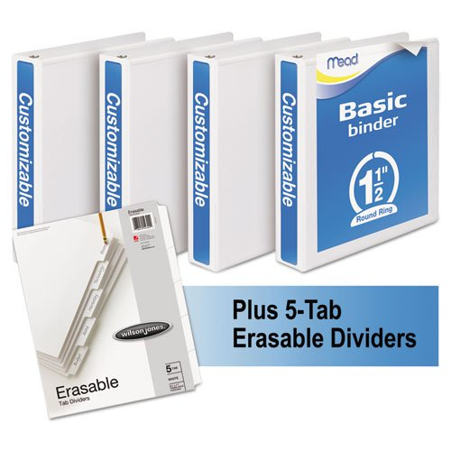 Mead 66334WU Economy Round-Ring View Binder Plus Pack 1 1/2'' Cap White 4/Carton