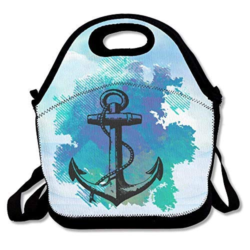 Blue Ocean Retro Anchor Resuable Lunch Bags with Shoulder Strap for Kids School Lunch Box for Women,Back to School Gifts