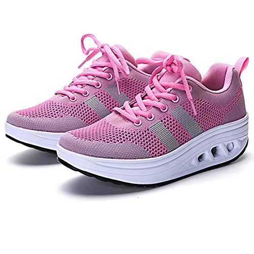 CYBLING Fashion Women Athletic Exercise Breathable Shoes Comfort Sport Walking Wedge Sneakers Pink 6dAaT