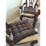 Superieur Large Size Set Of 4 Brown Soft Micro Suede Fully Quilted Dining Chair  Cushion Pads 18x18