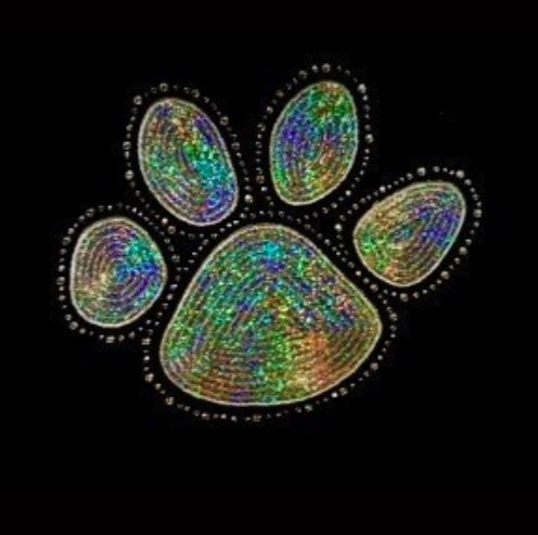 Paw Print - Silver - Sequin and Rhinestone Iron on Transfer