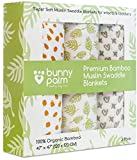 Swaddle Blanket Muslin Organic Bamboo for Baby, Set of 3 Swaddles for Boy and Girl, Soft Swaddling Receiving Sleep Blankets, Unisex Infant Toddler Gender Neutral Gift with Green (Multi.)