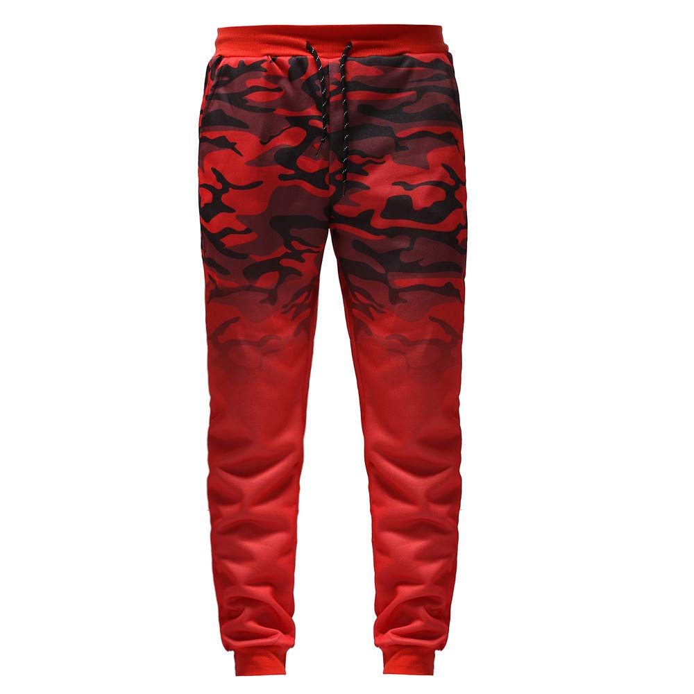 PANPANY Pantaloni Sportivi da Uomo con Colore sfumato Pantaloni Sportivi con Cuciture Elastiche Pantaloni con Pantaloni tascabili Pantaloni mimetici
