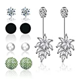 Platinum Plated Crystal Pearl Fabric Stud or Jacket Earrings (Green)