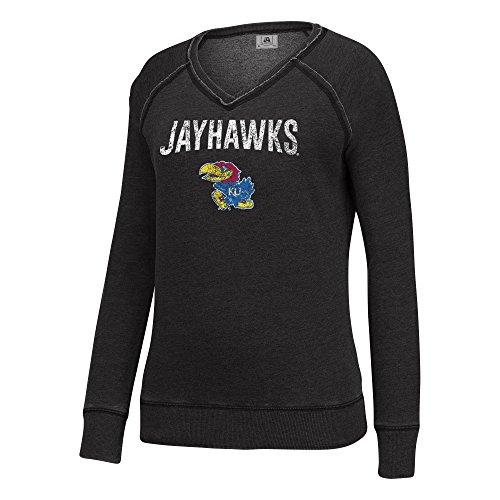 J America NCAA Kansas Jayhawks Women's Achieve Fleece Crew Sweater, X-Large, Black