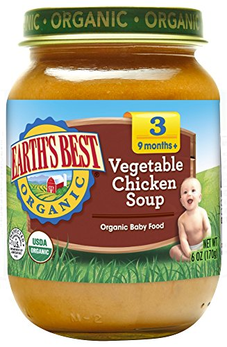 Earth's Best Organic Stage 3 Baby Food, Vegetable & Chicken Soup Dinner, Non GMO Ingredients, 4 grams of Protein, 6 Oz Jars (Pack of 12) (Nutrition Chicken Whole)