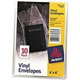 Avery 74806 Top-Load Clear Vinyl Envelopes w/Thumb Notch, 4 x 6, Clear (Pack of 10)