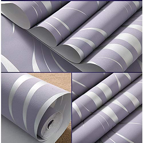 - Wall Paper Wallpaper Ikevan Silver 3D Non-woven Wave Stripe Embossed Wallpaper Rolls Living Room Decor 10m (Purple)