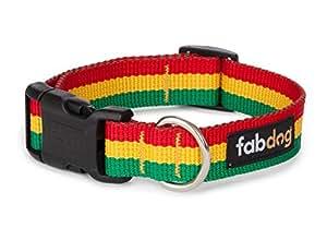 """Fab Dog Rasta Dog Collar, Red, Yellow, & Green, Medium (14-18"""")"""