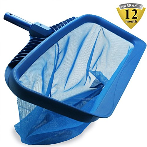 Pool Skimmers Heavy Duty Pool Nets 17'' Pool Rake, Modern Leaf Scoop - Easy Glide Low Drag Skimmer Scoop - Double Stitched Net Bag, Finer Mesh Netting for Smaller Particles Fast Scoop - Blue by candyfouse