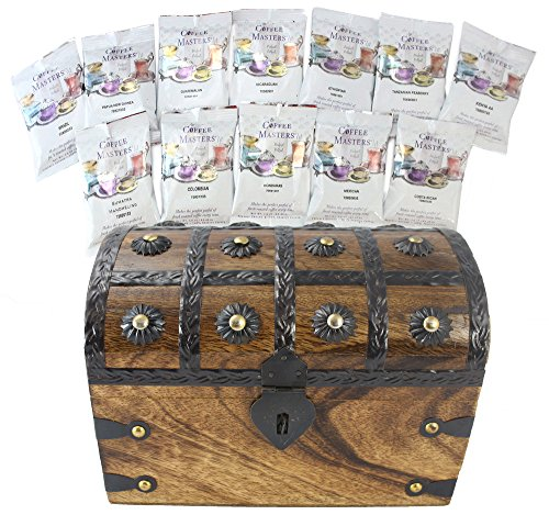 WellPackBox Easter Around the World in Twelve Coffee Treasure Chest Coffee Masters Variety Pack Gift Set