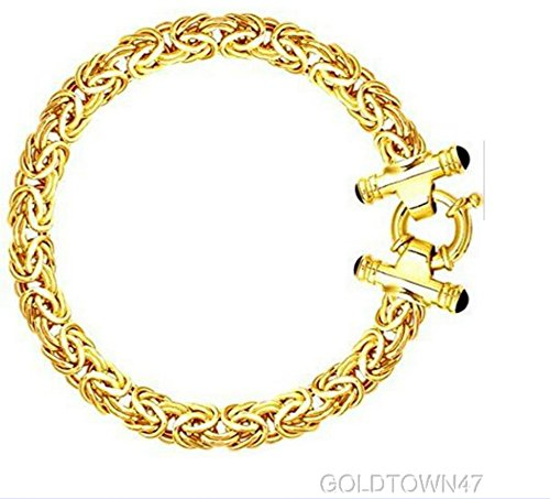 14k Yellow Gold Shiny Byzantine Fancy Bracelet with Spring Ring Clasp