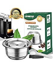CAPMESSO Coffee Capsule, Stainless Steel Reusable Coffee Pod for Espresso Nespresso Refillable Vertuo Capsule Pod Vertuoline GCA1 and Delonghi ENV135 (8OZ- Newest Version)
