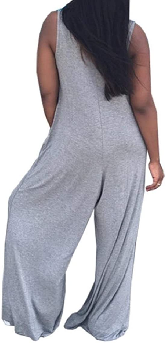 Coolred-Women V-Neck Sleeveless Pure ColorLoose Plus-Size Cozy Jumpsuit