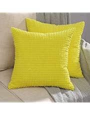 MIULEE Corduroy Throw Pillow Covers Soft Pellets Solid Decorative Square Cushion Case for Sofa Bedroom Car