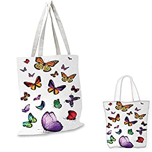 """Butterfly canvas messenger bag Collection of Different Colored Flying Butterflies Independent Spirit Animal canvas beach bag Multicolor. 12""""x15""""-10"""""""