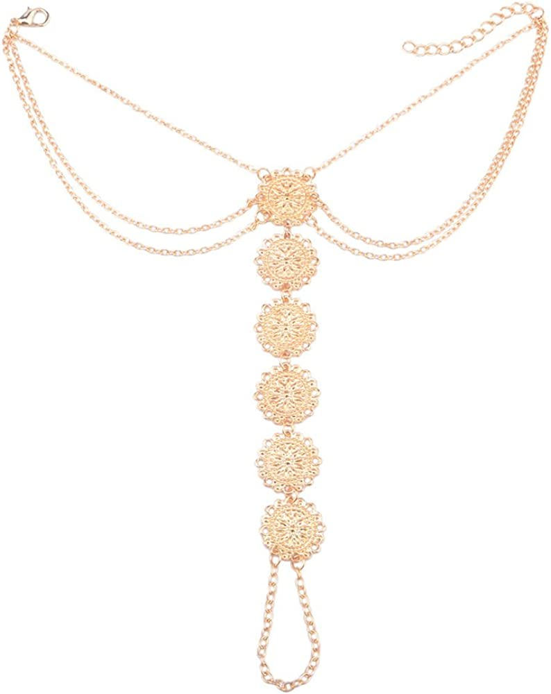 Vintage Tassel Necklace White Chain Gold Tone