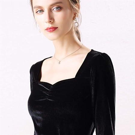 Lijincheng Camisa Blusa de Terciopelo Camisas de Mujer Manga Larga Cuello en V Básica Señora Cálida Vintage Blusas Femme Tops (Color : Black, Size : XL): Amazon.es: Hogar