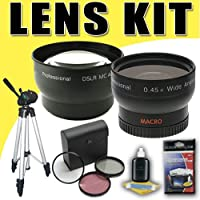 DavisMAX 2X Telephoto / 0.45X Wide Angle Lens with 3 Piece Filter Kit Tripod Bundle for Canon 58mm Camcorders
